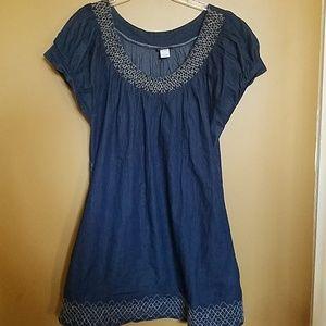Short- sleeve denim babydoll dress - Size 16